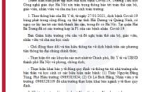 THÔNG BÁO (Về thực hiện công tác phòng, chống dịch bệnh Covid-19)